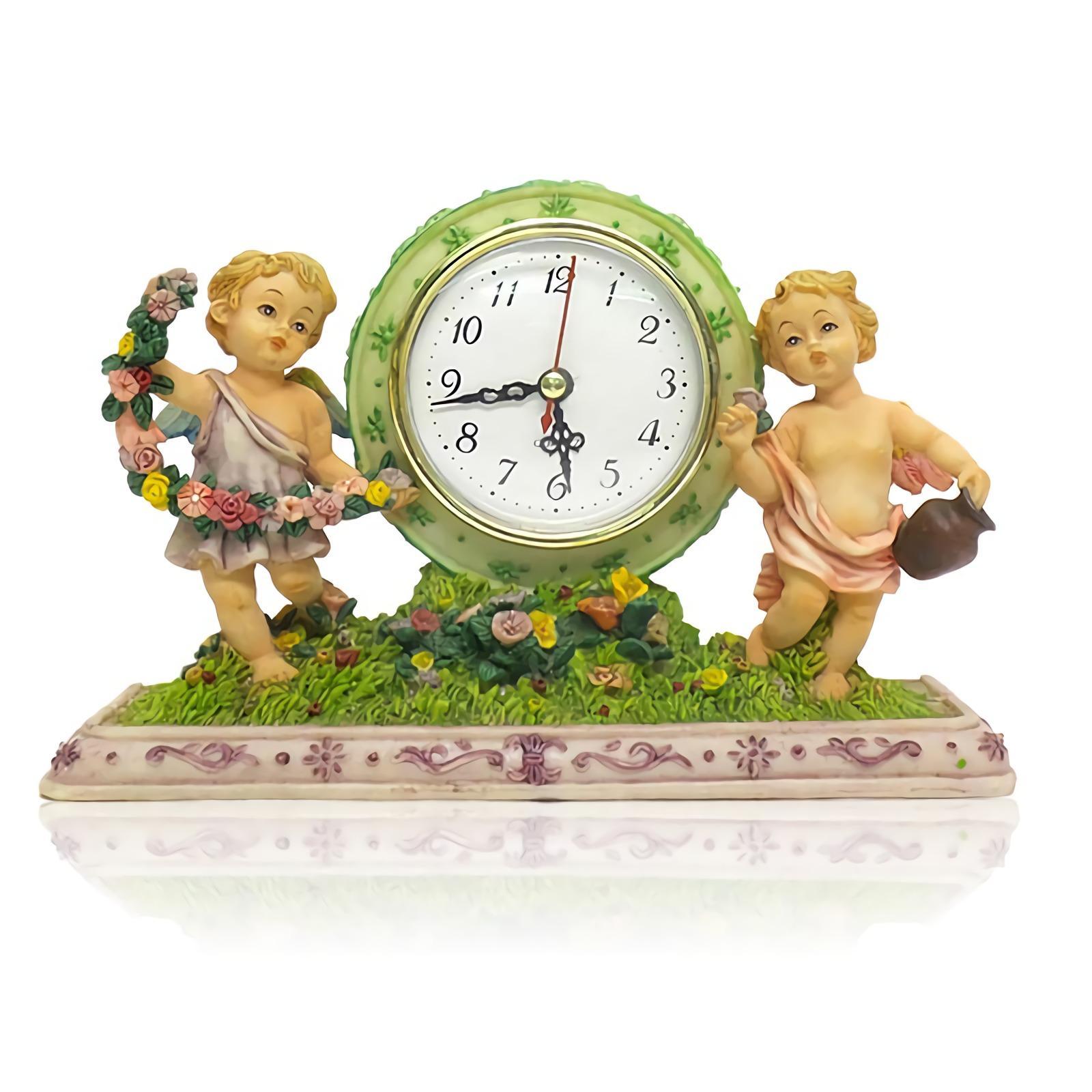 OHOME Jam Meja Keramik EK-SP-3705 Malaikat Mini Patung Pajangan Poly Stone Table Top Clock Warni