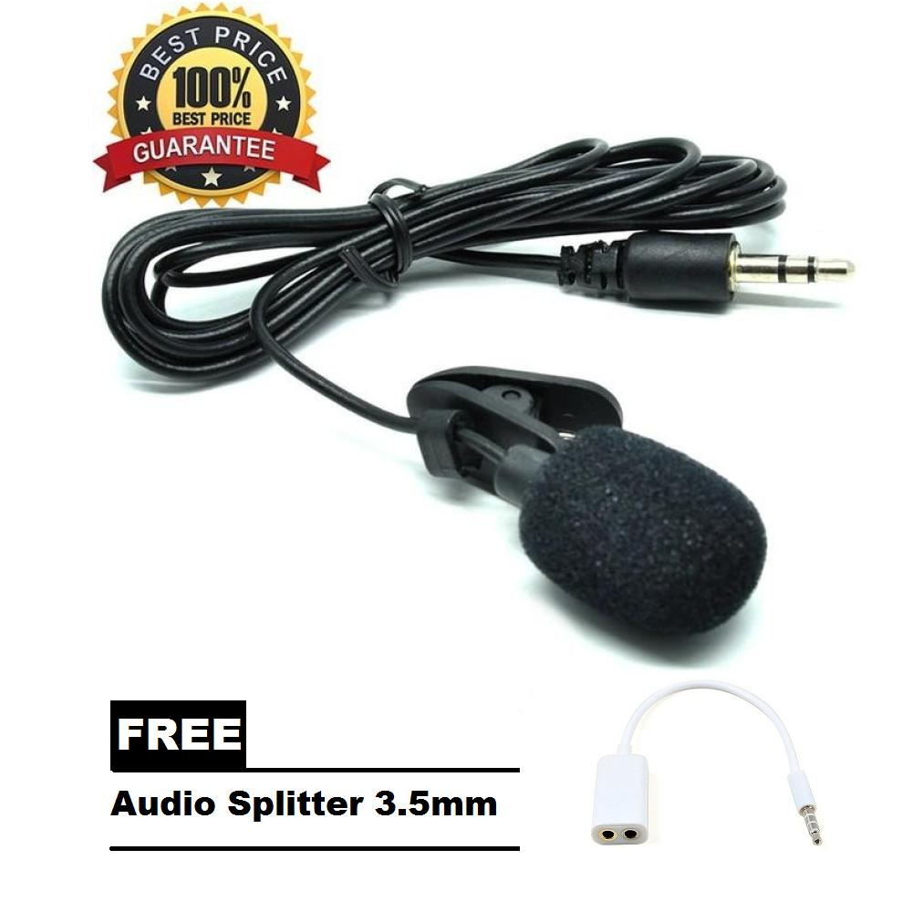 3.5mm Microphone with Clip for Smartphone / Laptop / Tablet PC + FREE Audio Splitter 3,5mm