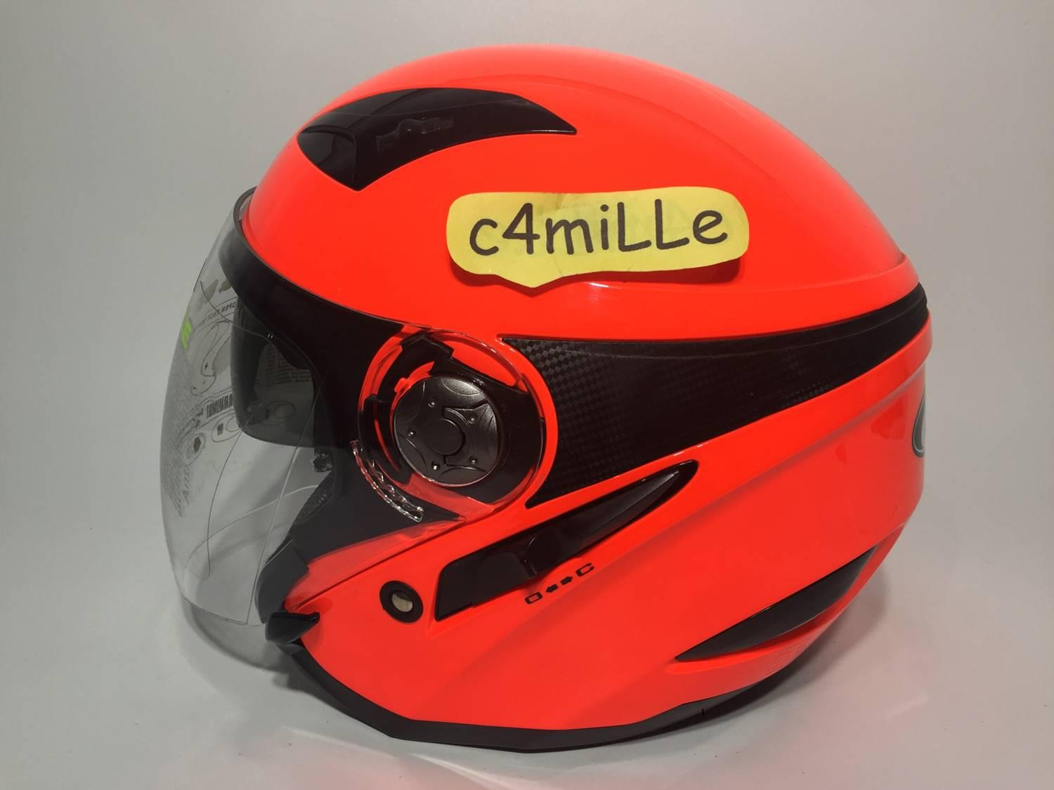 HELM MDS ZARRA SOLID RED FLUO DOUBLE VISOR HALF FACE