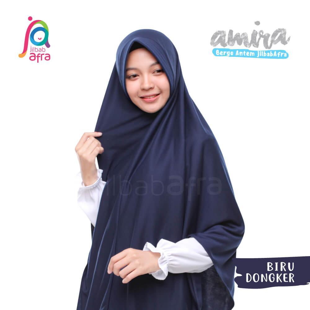 Jilbab Amira 16 Biru Dongker - Bergo Pet Antem - Jilbab Afra - Hijab Instan Bahan Kaos, Adem & Lembut