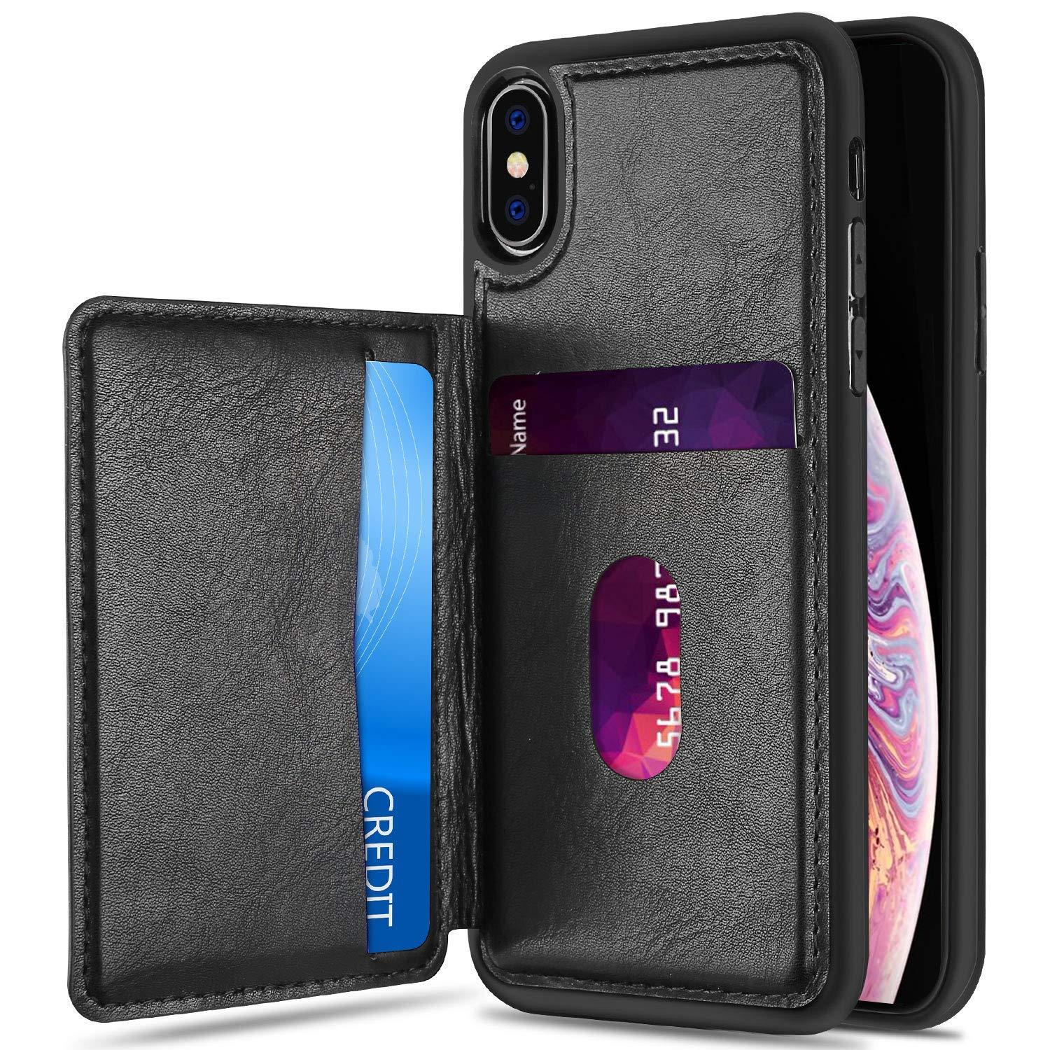 ProCase Wallet Case for iPhone XS Max, Slim Flip Kickstand Leather Case Minimalist Hybrid Stand