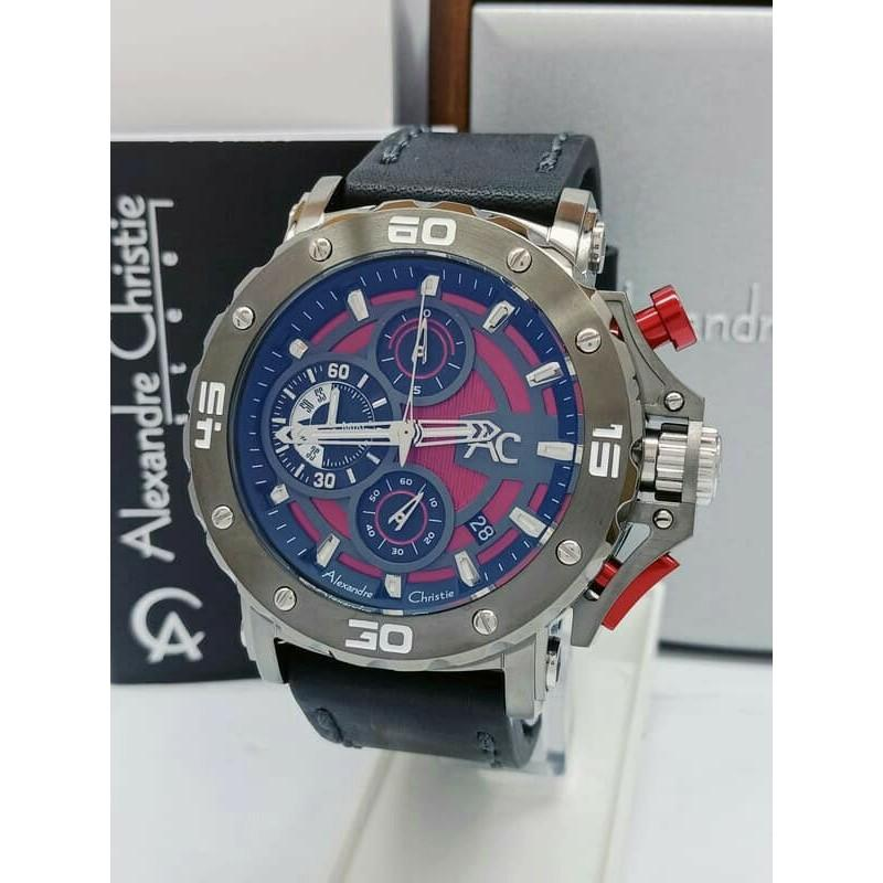 JAM ALEXANDRE CHRISTIE AC 9205 COLLECTION PRIA GREY RED ORIGINAL ANTI AIR FREE BOX KAYU Variasi Tidak Ada