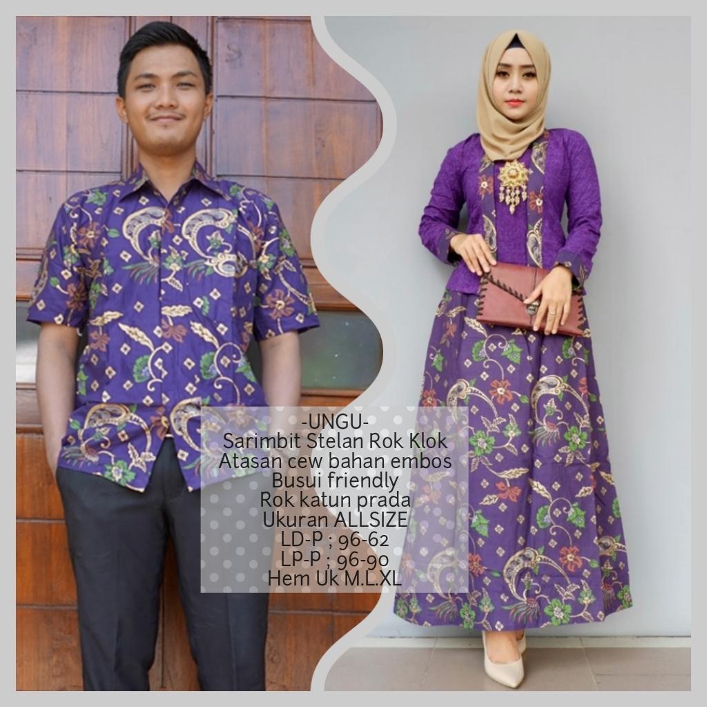 baju kondangan resepsi couple batik bahan katun warna ungu BSG562