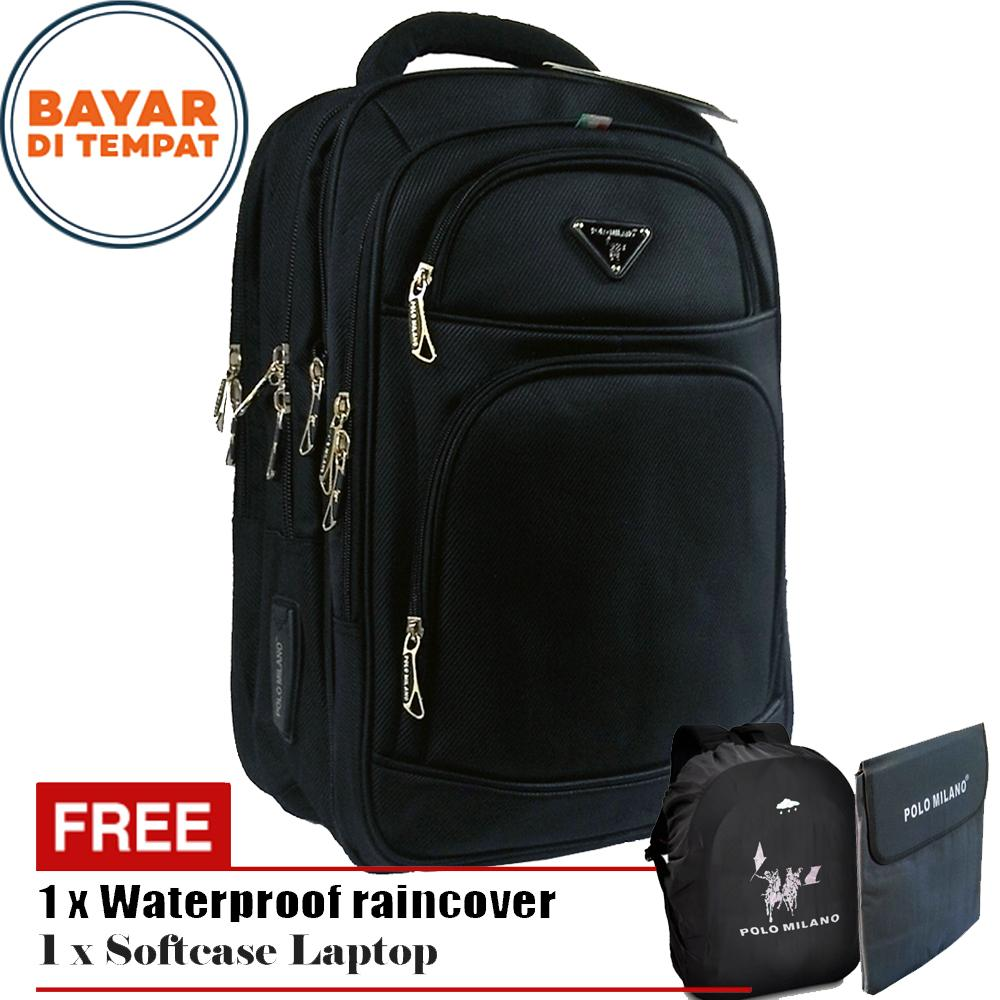 Tj - Polo Milano Tas Ransel Tas Laptop Emboss Tas Punggung Tas Kerja dan Kuliah 88091-18 Highest Spec Polo Backpack Import Original - Black + Free Softcase Laptop + Free Raincover