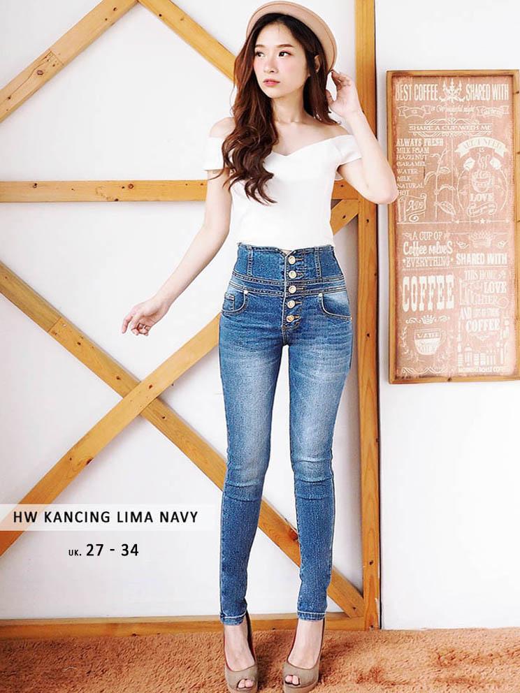 (BEST SELLER) Celana Jeans Jumbo Wanita - Celana Kancing Jumbo Kombinasi (READY LIGHT, NAVY, BLACK) - Highwaist big - TERLARIS