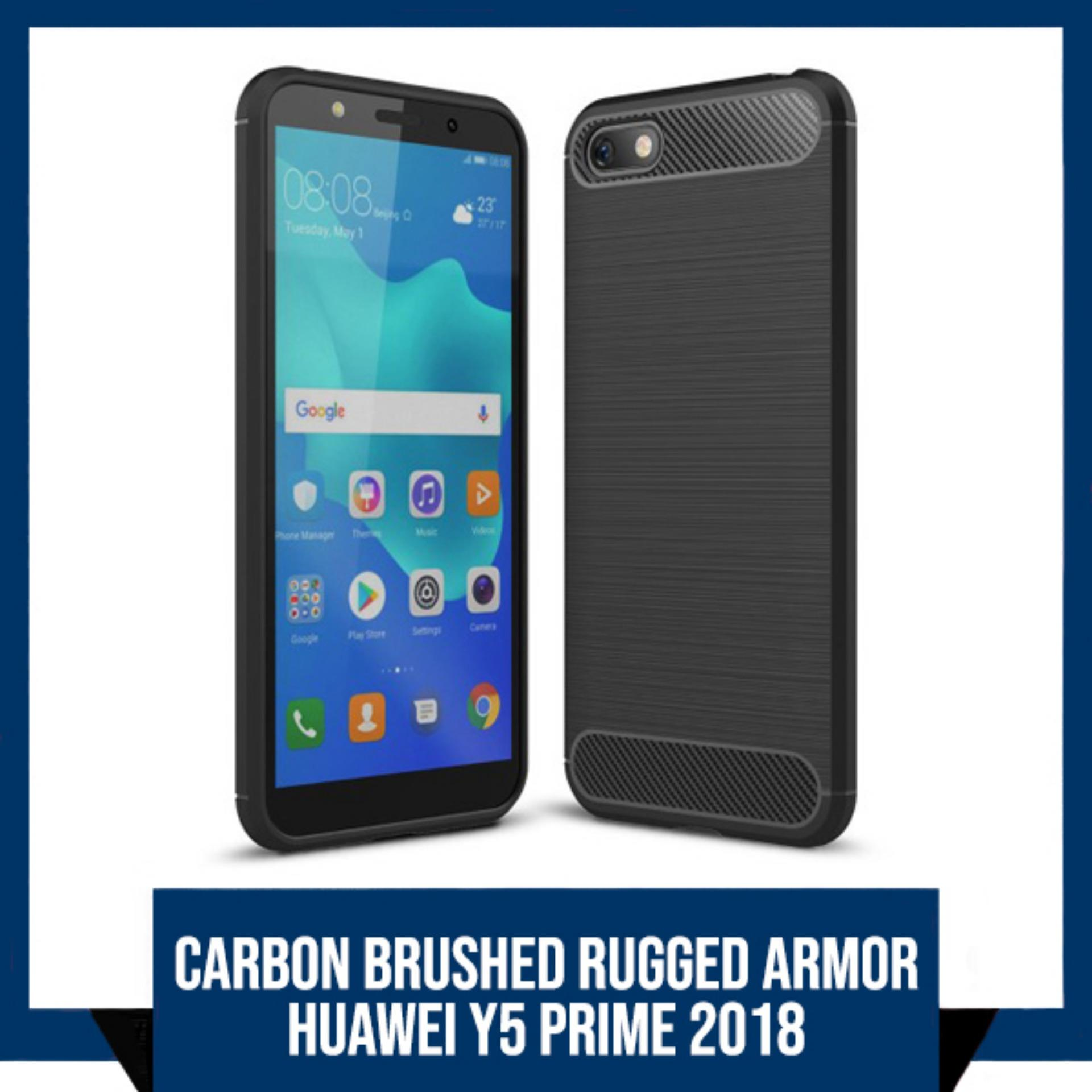 CASE HUAWEI Y5 PRIME 2018 PREMIUM CARBON BRUSHED RUGGED ARMOR BACK COVER