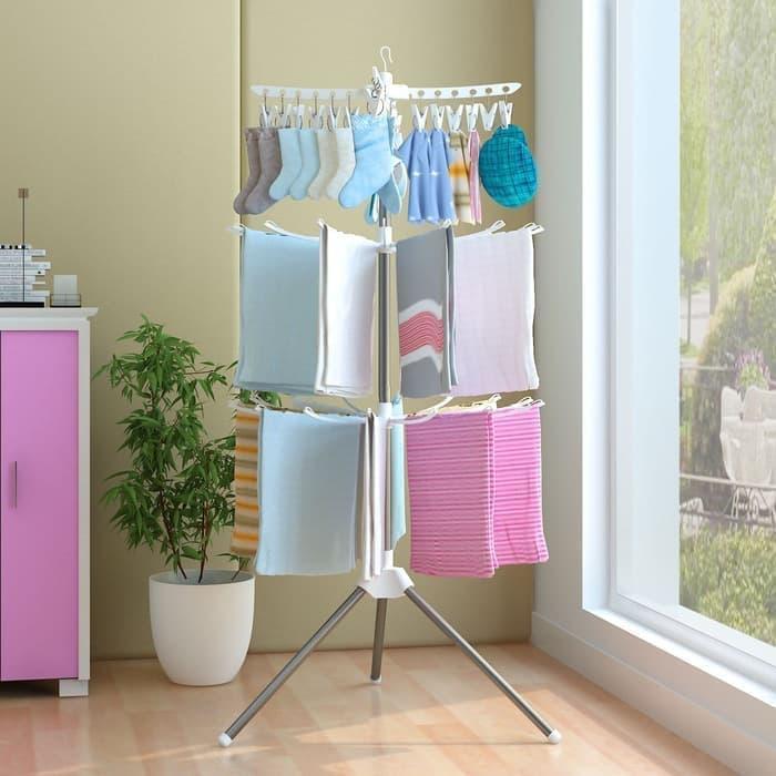 Jemuran Pakaian Standing Hanger Tiang Hanger Berdiri Rak Jemuran Baju