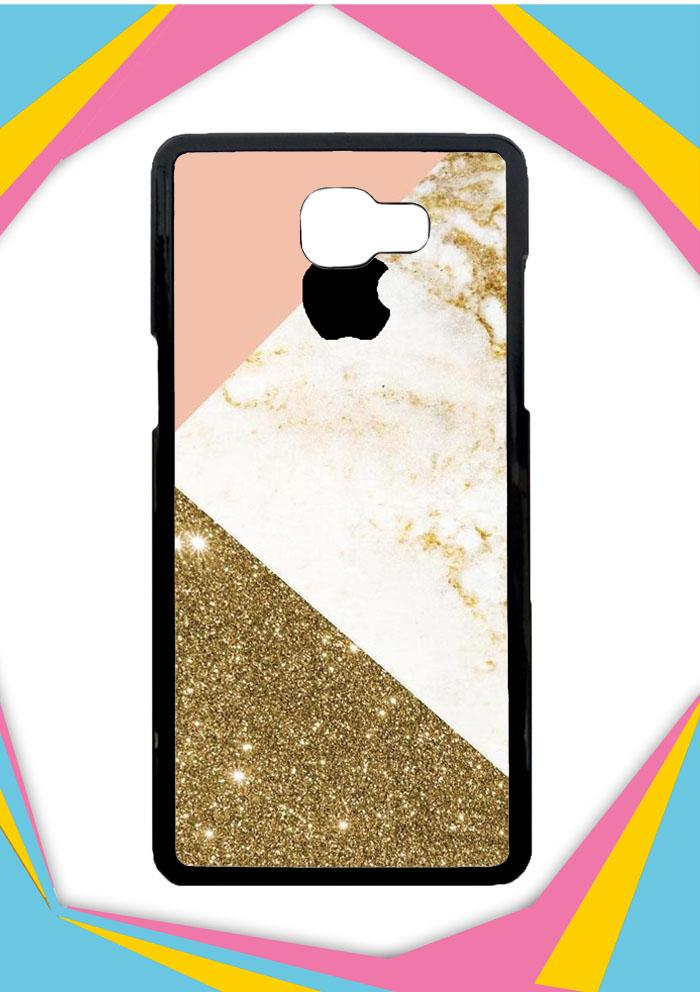 Casing Samsung Galaxy J5 Prime Custom Hardcase Pink and Gold Marble apple logo Z4824 Case Cover