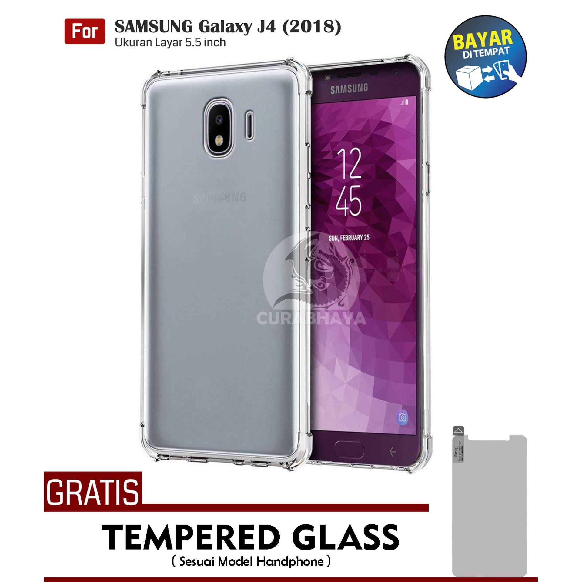 AirShock Samsung Galaxy J4 (2018) / J400 / Duos | Anti Crack Premium Softcase Cushion ShockProof + Gratis Free Tempered Glass Screen Protector