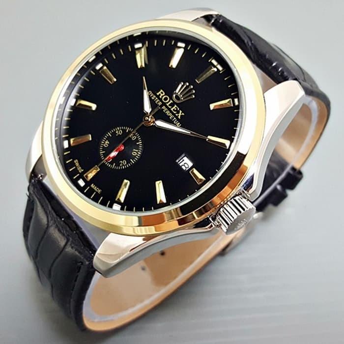 Jam tangan pria / Jam tangan pria original / Jam tangan pria murah / Jam tangan pria terbaru / Jam tangan pria swiss army / Jam tangan pria terbaik / Jam Tangan Pria / Cowok Rolex Automatic Big Size Leather Black Kombi DISKON MURAH!!!