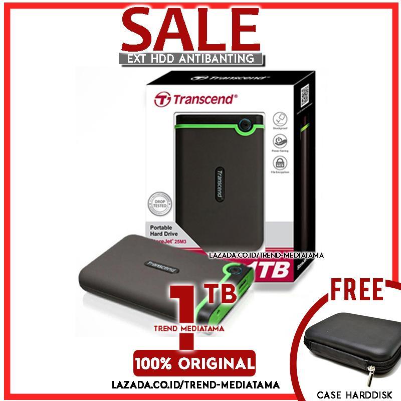 Transcend Harddisk Eksternal Antishock Storejet 25M3 - 1TB - Hitam Free Case