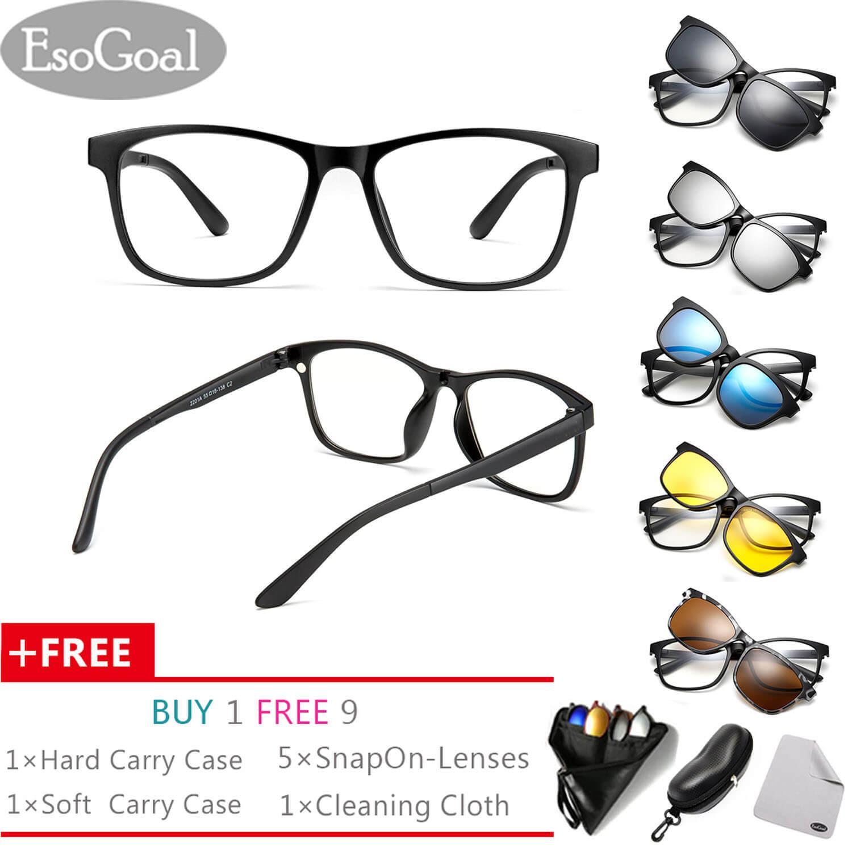 EsoGoal Kacamata Magnetik Clip On Glasses Unisez Lensa Polarised Frame Retro Dengan 5 Lensa