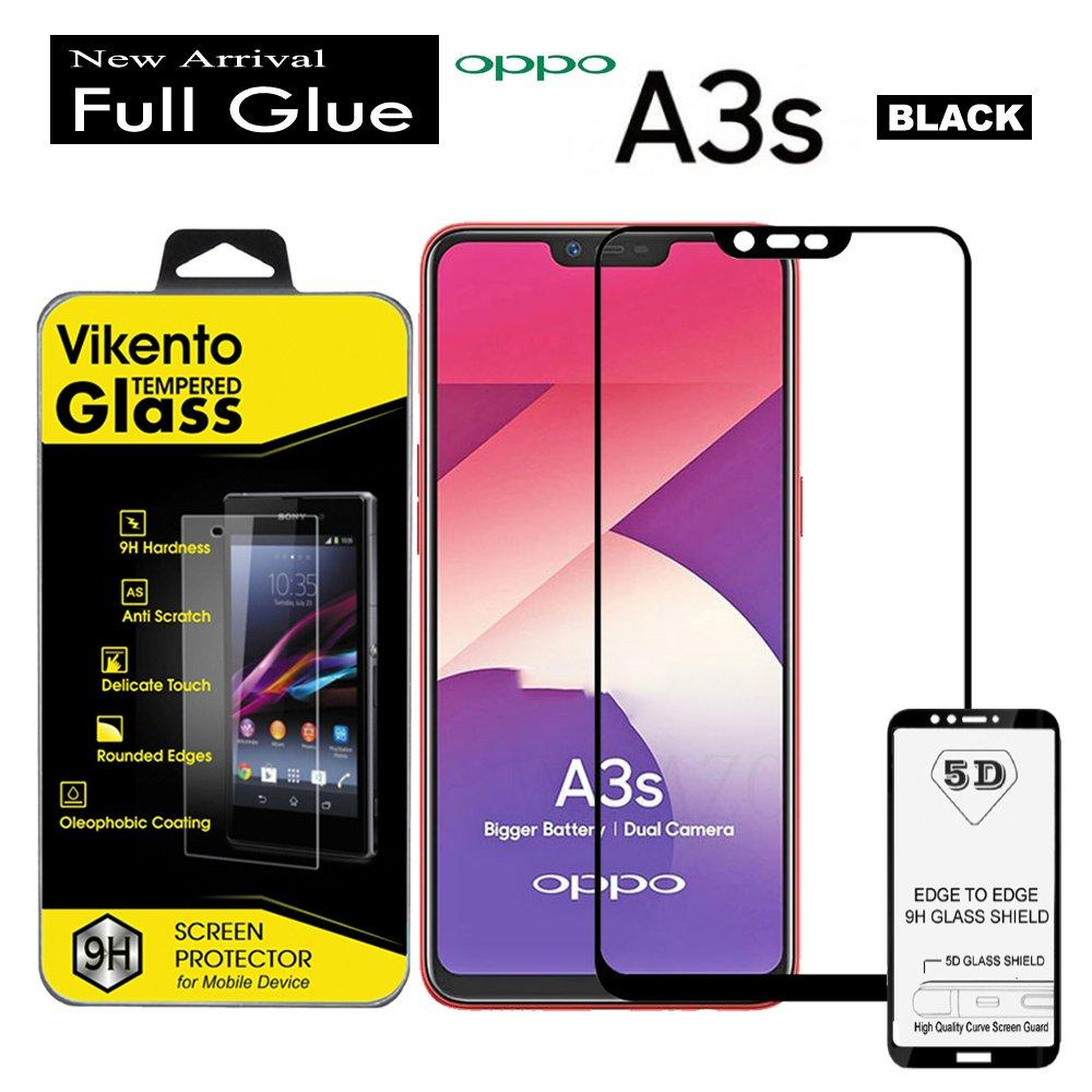 5D Curved Full Cover Tempered Glass Vikento Full Glue For Oppo A3s Anti Gores Kaca (