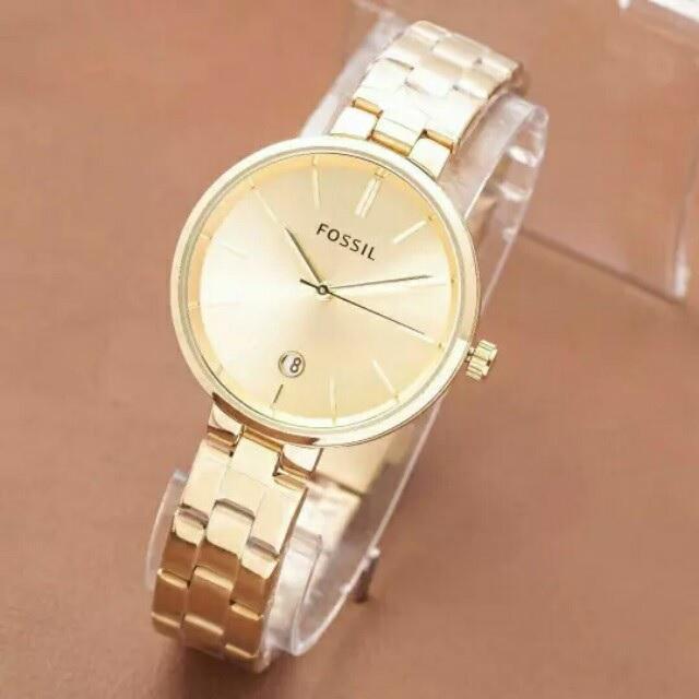jam tangan wanita cantik - jam tangan wanita elegant - jam tangan wanita fossil glossy - tanggal aktif - rantai - terbaru dan terlaris