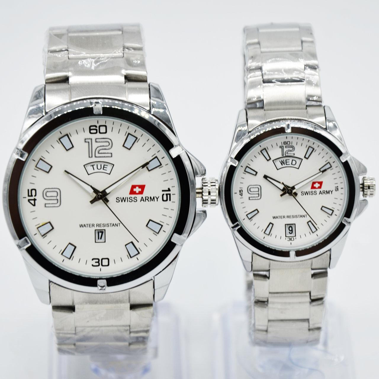 Swiss Army Couple Watch - SA7392 - Jam Tangan Couple - Stainlesstell Strap