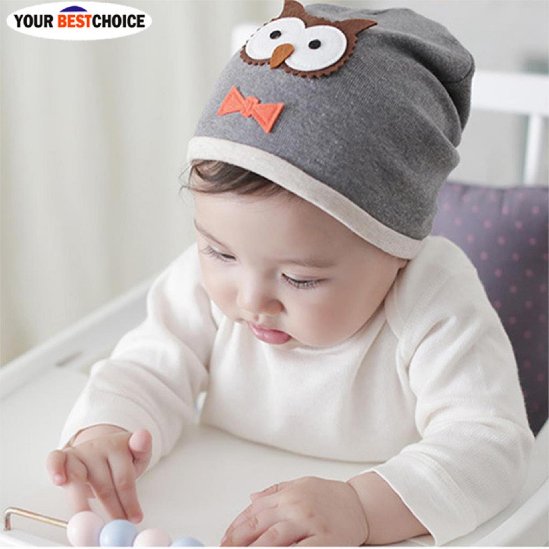 YBC Topi Kupluk Unisex Bayi Baru Lahir Bahan Katun Lembut Warna Abu-Abu