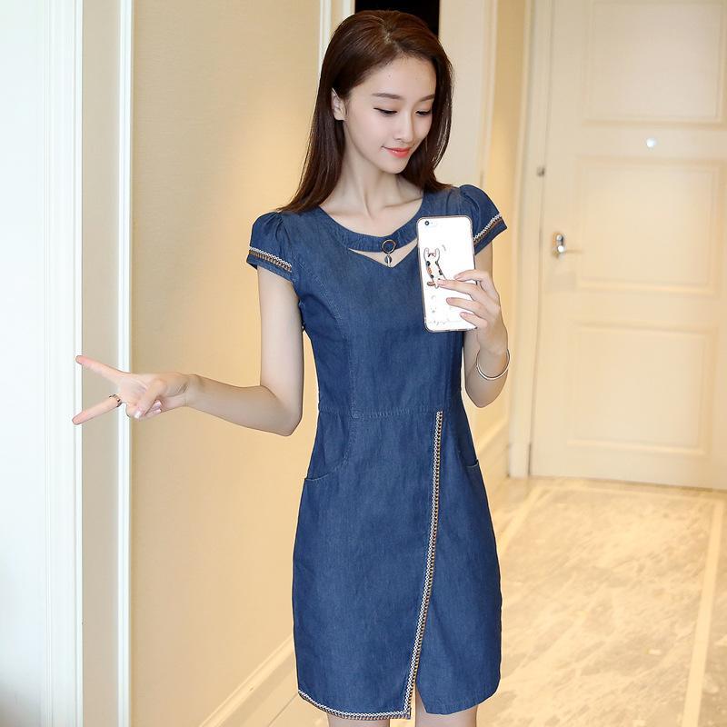 Rok Jeans Korea Fashion Style Musim Panas Gaun Yard Besar Slim (Denim biru) baju wanita dress wanita Gaun wanita