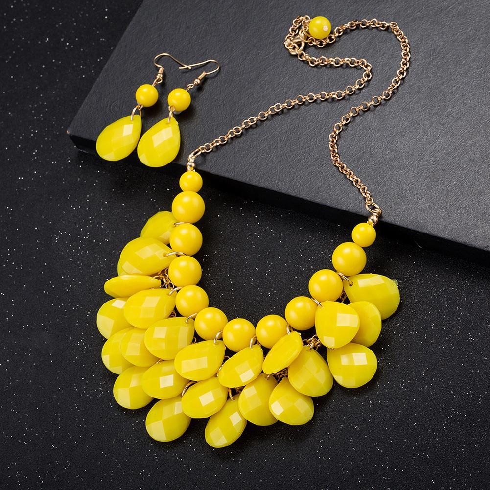 Jual panas berlebihan perhiasan merek grosir fashion paduan anting kalung set ekspor FSS004-B FSS004