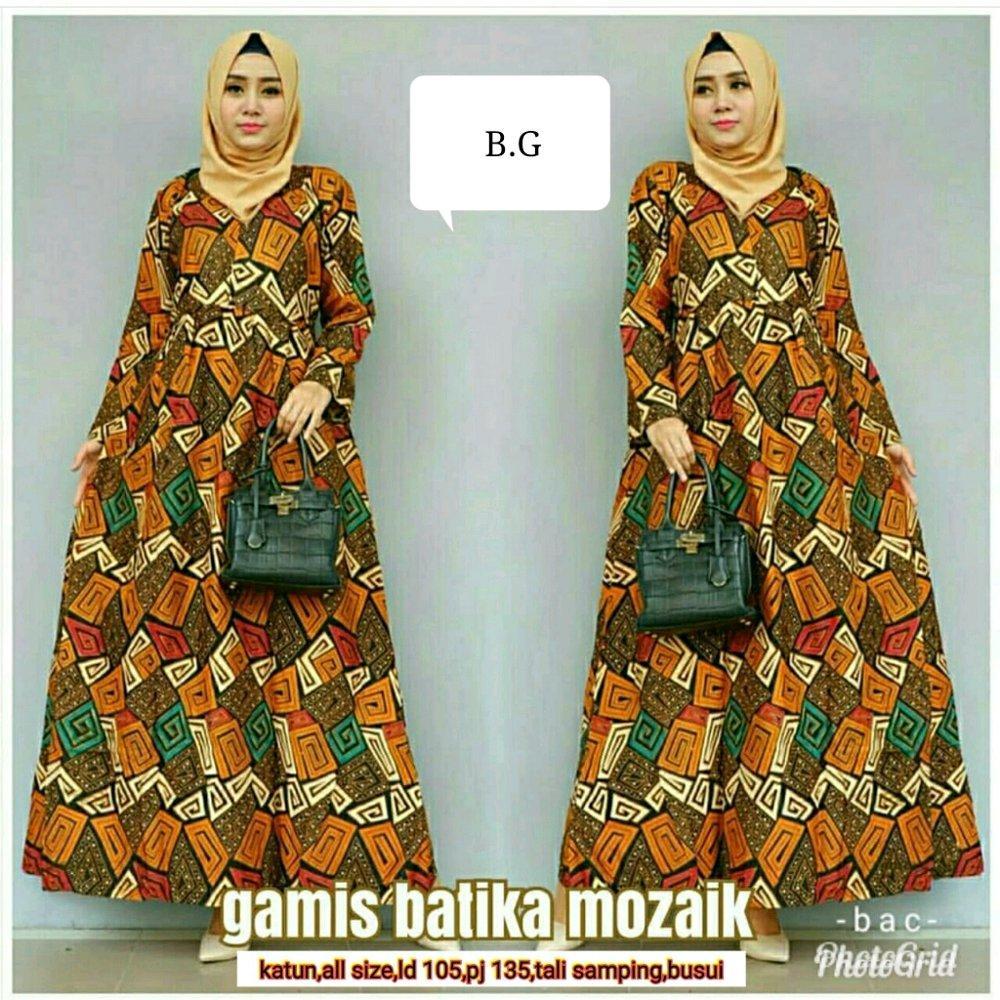 Gamis mozaik - gamis - gamis batik - gamis klok - batik - batik wanita - seragam batik di lapak Batik Gaul Pekalongan nur_janah2611