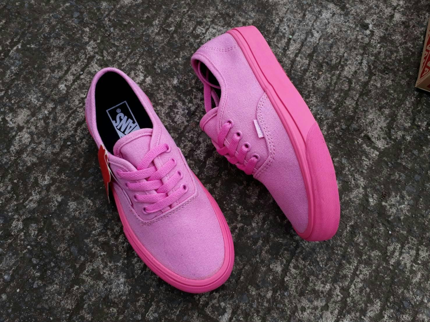 sepatu vans wanita authentic Full Pink waffle DT premium BNIB made in china