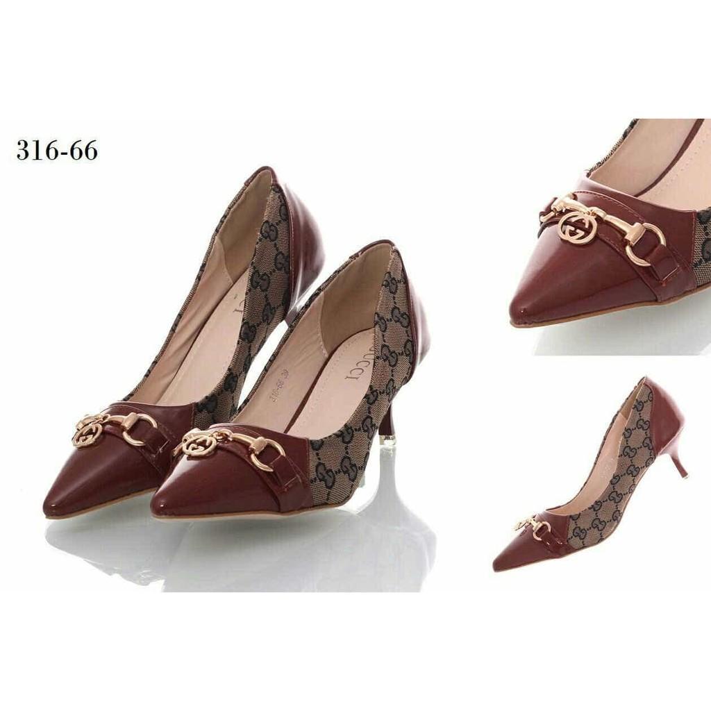 Sepatu Heels Gucci 2 Tone 316-66VIC Bahan Kulitgloss & Canvas