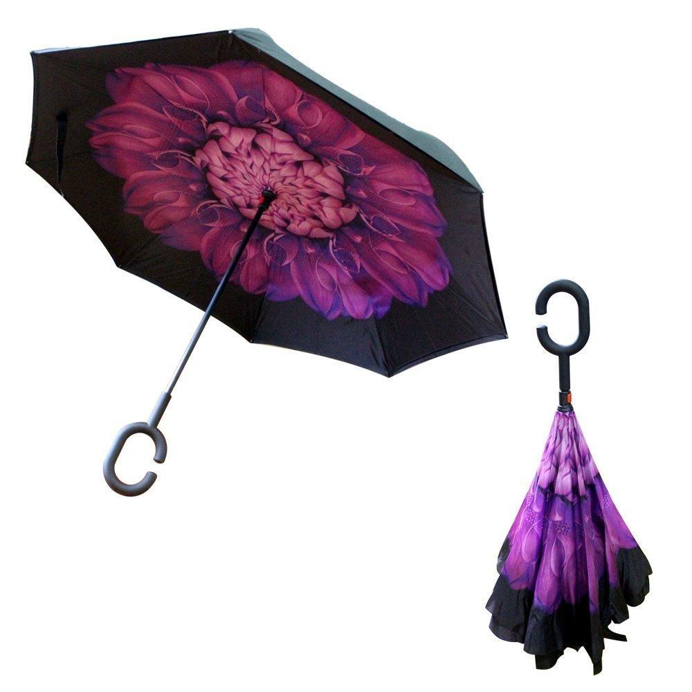 Payung Kazbrella Terbalik / Reverse Umbrella Gagang C Tombol Merah