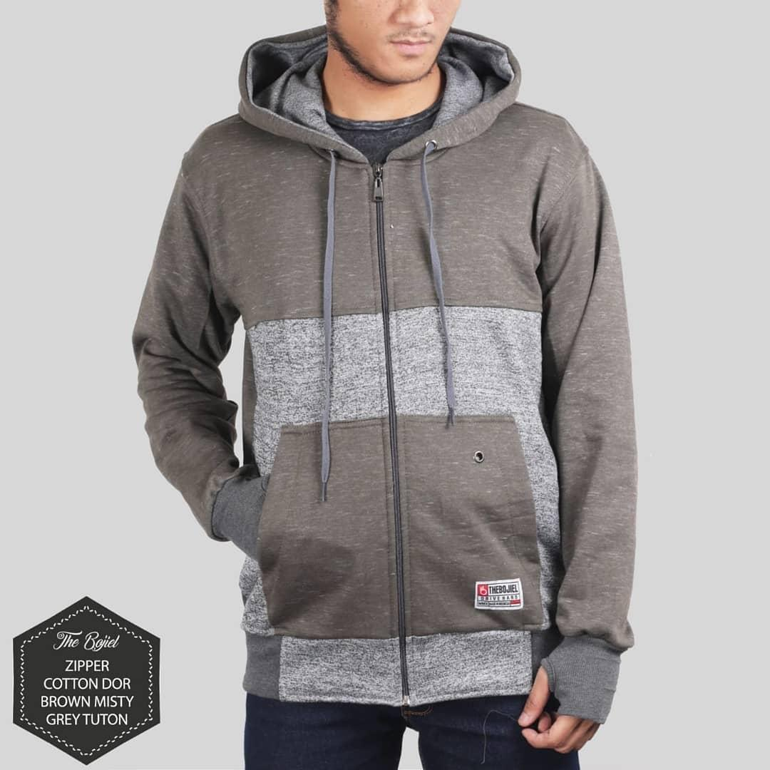 The Bojiel - Jaket Sweater Hoodie Pria Terbaru - Brown Misty