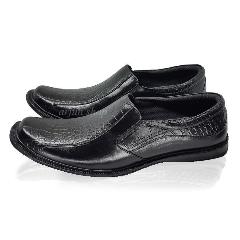 Arjun Shop HTT300 Sepatu Pantofel Pria Bahan Kulit Buaya Sintetis Fantofel Formal Pantopel Dinas