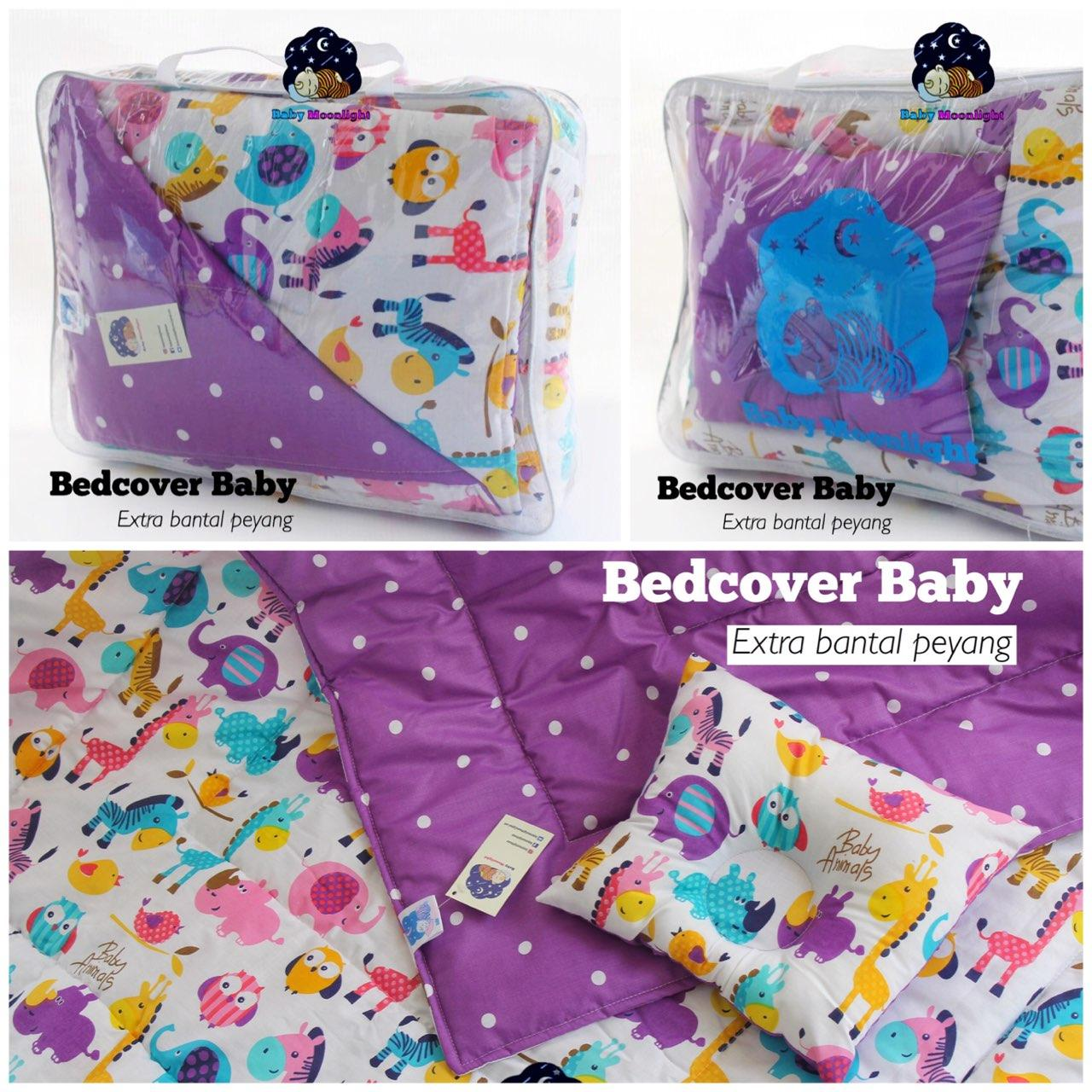 Baby bed cover - baby animal purple