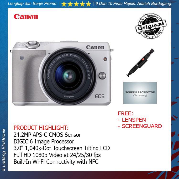 Canon EOS M3 Kit 15-45mm STM Kamera Mirrorless ( Free Lenspen + Screengaurd ) / Garansi Distributor 1 Tahun - Original
