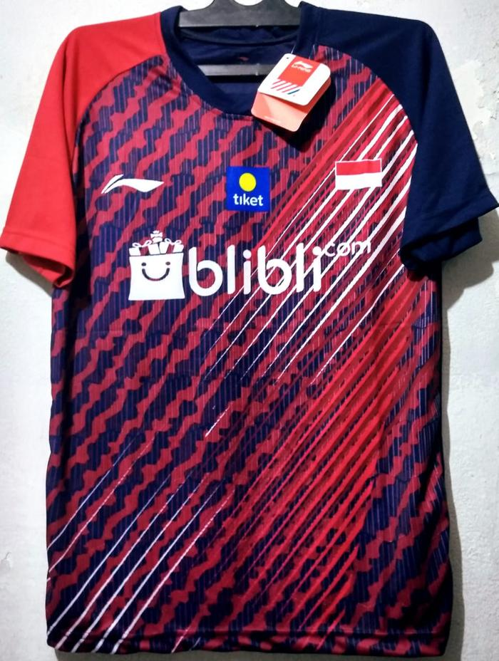Baju badminton lining L35 navy merah