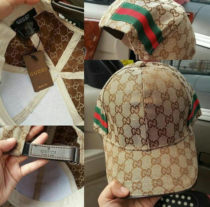 Topi Gucci Al Bahan Kanvas List Samping Semi Premium Import