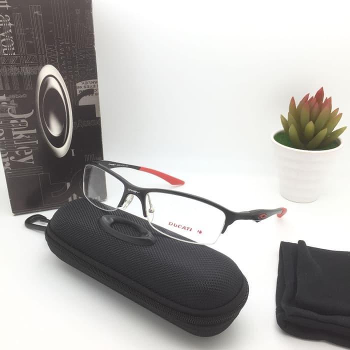 DISKON Frame Kacamata Minus Oakley Ducati Half Frame Pria Hitam TERMURAH