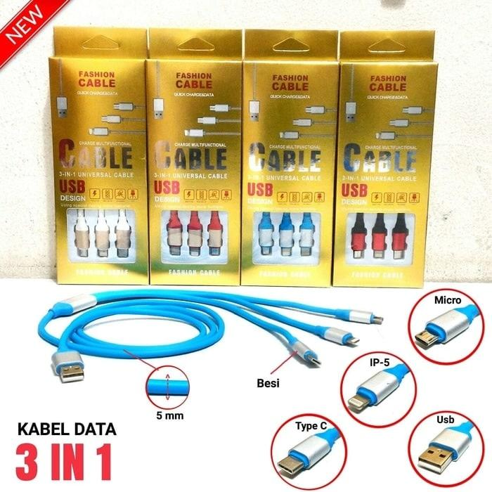 Kabel Usb Nylon 3 In 1 / Android / Micro / Type C / Iphone 5 / 6 Cable