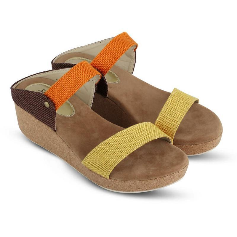 JK Collection Sepatu Wedges Wanita Kuning Komb - JTI 4012