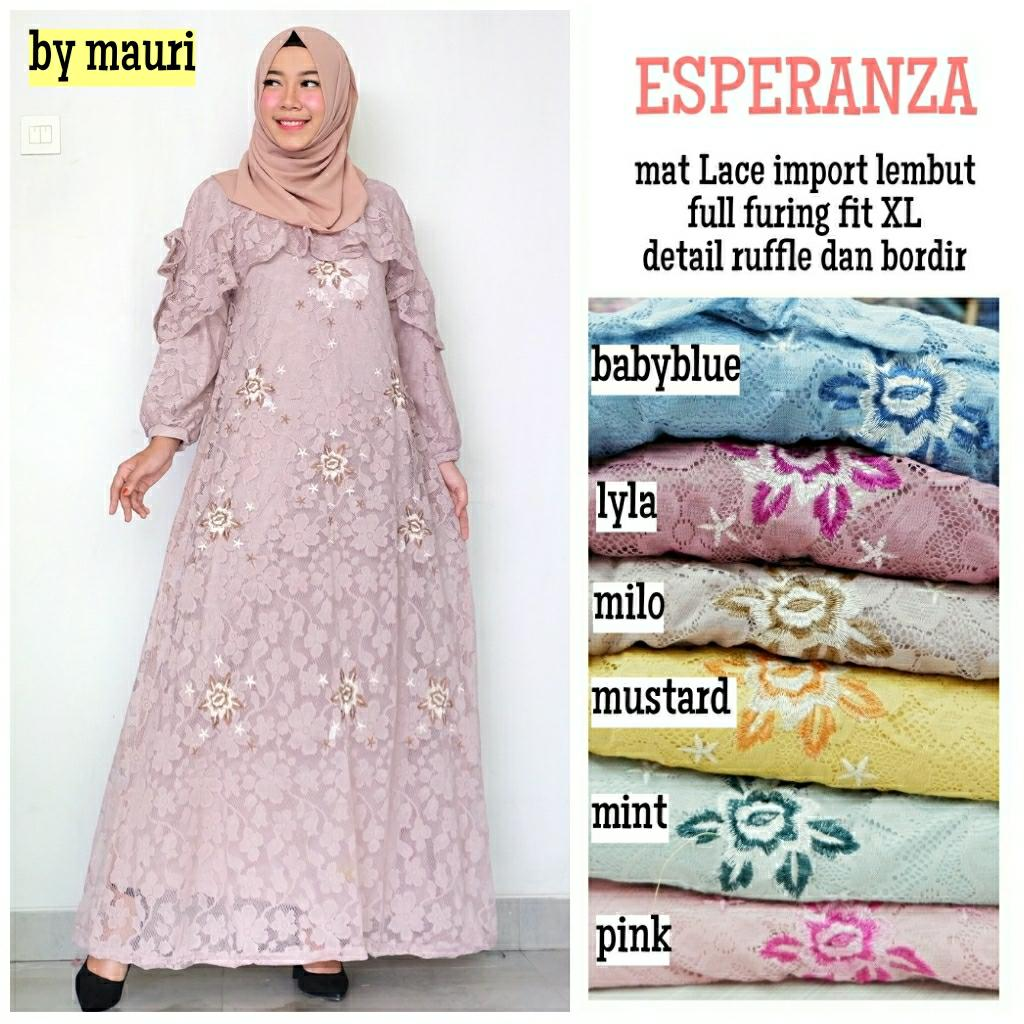 Gamis Long dress maxi wanita muslim brokat lace esperanza gaun pesta XL