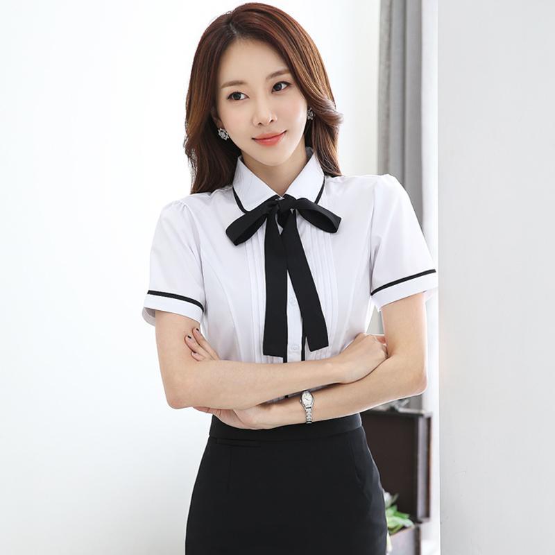 2018 Musim Panas Model Baru Versi Korea Seragam Formal Kemeja Putih Lengan Pendek Kerah Boneka Netral