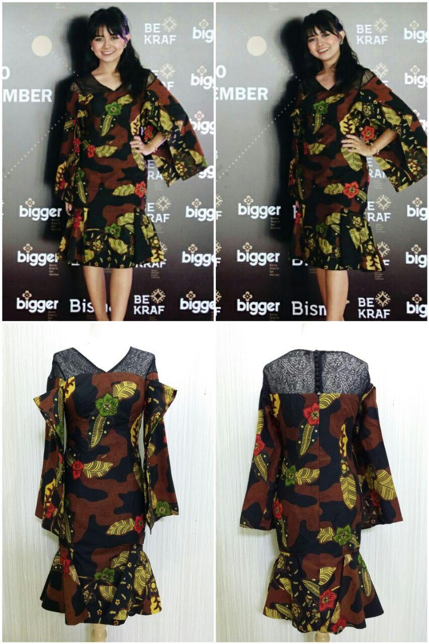 Batik Kerja Dress Batik Modern Bahan Katun Batik Cap Semi Tulis Motif Batik  Bunga Teratai Batik e6da6df929