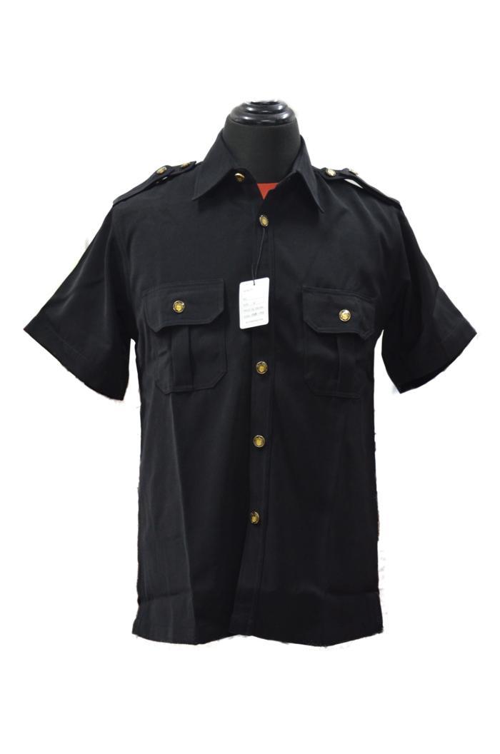 Baju / Kemeja Safari Hitam Supir / Security High Twist Lengan Pendek - 8xSfaz