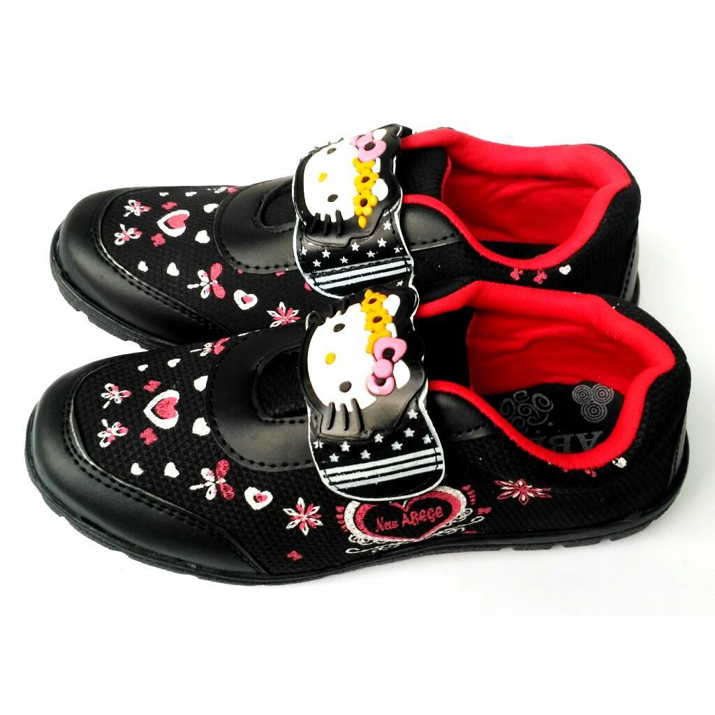 Sepatu Sneakers Anak Perempuan Led Model Jaring Sooko Sekolah Sd Hello Kitty Hitam