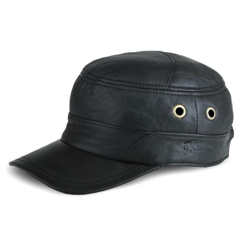 JK Collection Topi Baseball Kulit Pria Hitam - TP 004