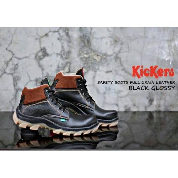 Sepatu Safety Boots Kickers Sol Karet Bams Untuk Kerja Hiking Touring