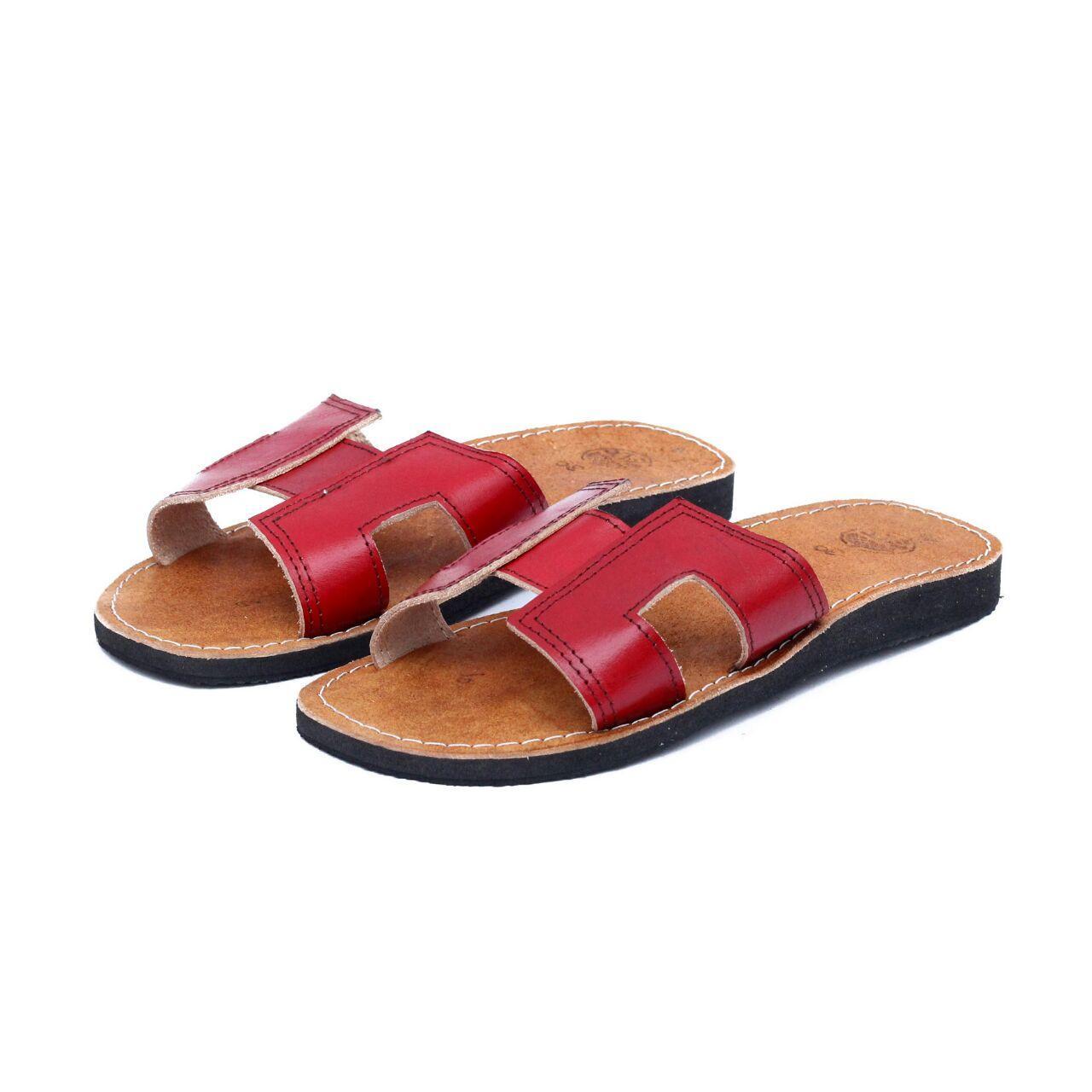 Sandal Kulit Asli Wanita Model H - Sandal Teplek Warna Maroon