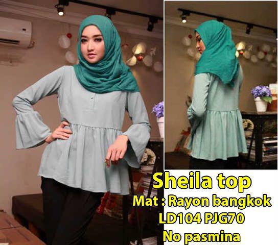 Pakaian wanita muslim warna hijau muda [ Sheila Top SW ]