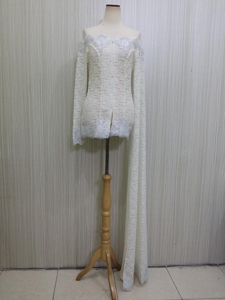 Kebaya Modern Ijab Pengantin Wanita Lengan Panjang Muslim Bahan Broklat Warna Putih RR1864