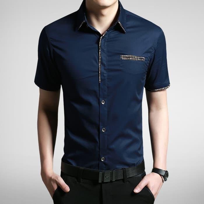 Baju Kemeja Baju Batik  Pria Katun Strech Dav Biru Dongker Terbaru Fas145