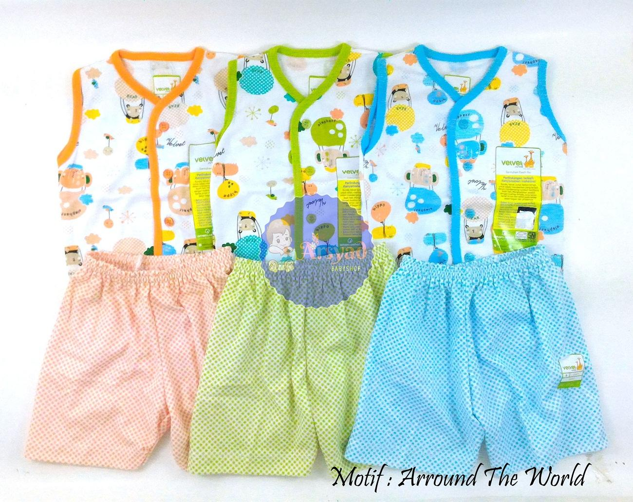 Arsyad Babyshop - Velvet Junior Paket 3 Pcs Baju Anak Setelan Kutung - Motif Arround The World