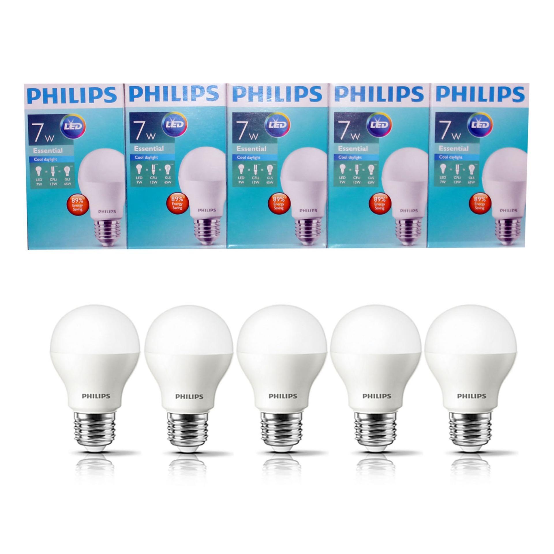 PHILIPS Lampu Led Bulb Essential 7 Wat 7 W 7Watt 7W Paket 5 Pcs Putih