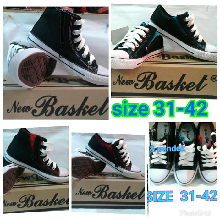 Azljaya-Sepatu Sneakers Kanvas Seragam Sekolah New Basket Hitam Pria-Wanita  37-42IDR96500. Rp 97.200 d1c0ab2d74