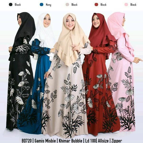 Promo Hari Ini New Setelan Gamis Misbie Cantik Allsize BD720 Untuk Lebaran